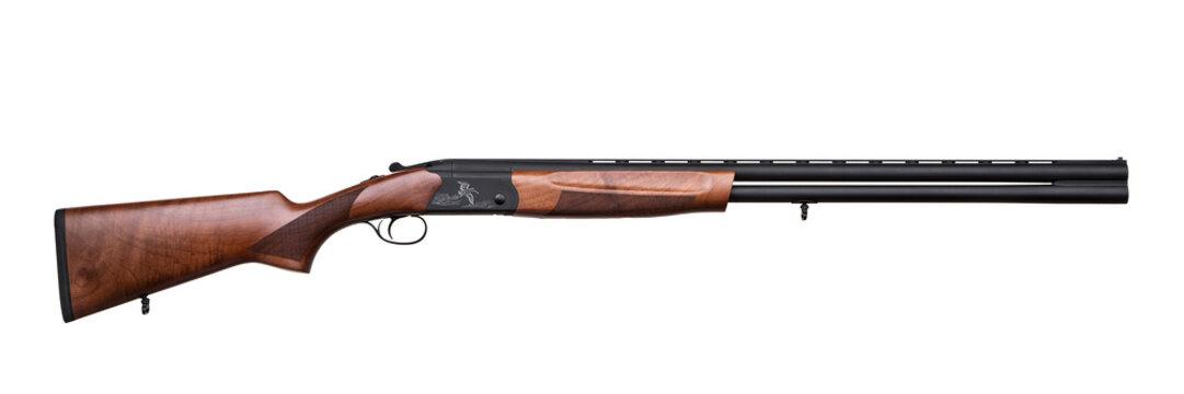 classic hunting double barreled shotgun isolated on white