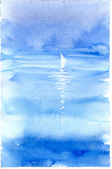Watercolor illustration with sea, sailboat and yachting. Hand drawn picture about sailing, seaside landscape. Blue painted background, wallpaper with white boat. Banner in watercolor style.