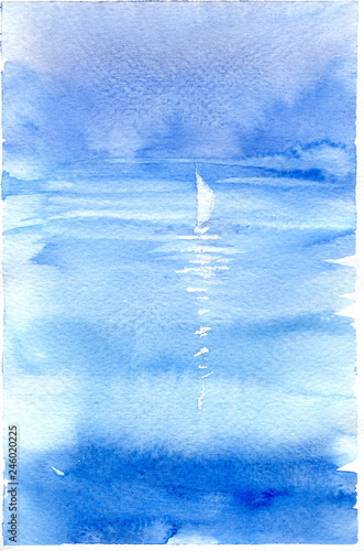 37421d644 Watercolor illustration with sea, sailboat and yachting. Hand drawn picture  about sailing, seaside