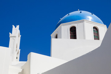 Houses and architecture in white and blue on Santorini, Greece