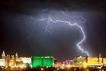 File photo showing lightning strike over Casinos along the Las Vegas strip.