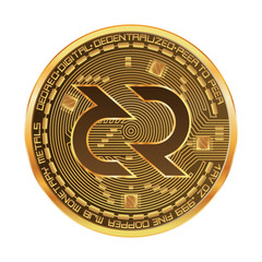 Crypto currency golden coin with decred symbol on obverse isolated on white background. Vector illustration. Use for logos, print products, page and web decor or other design.