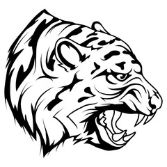 tiger head vector drawing, tiger face drawing sketch, tiger head in black and white, vector graphics to design