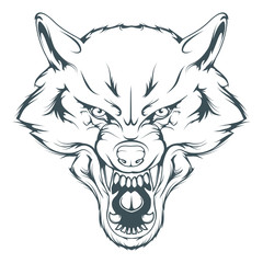 wolf head vector drawing, wolf face drawing sketch, wolf head in black and white, vector graphics to design