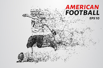 American football. American football player strikes the ball. Dots create the shape of a football player.