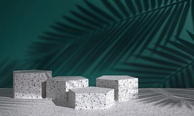 Cosmetic background for product presentation. white terrazzo podium on dark green wall scene with shadow of leaf. Minimal geometric shape. fashion magazine illustration. 3d render illustration.