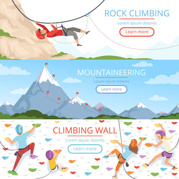 Mountain climbing pictures. Rope carabiner helmet rockie hills people extreme sport vector banners template with place for text. Illustration of mountain climbing sport, mountaineer extreme adventure