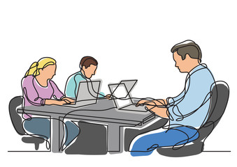 continuous line drawing of three coworkers working on laptops