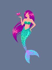 Beautiful mermaid blows a kiss.