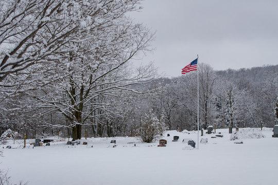 Cemetery Flag in Winter