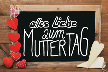 Chalkbord, Red And Yellow Hearts, Calligraphy Muttertag Means Happy Mothers Day