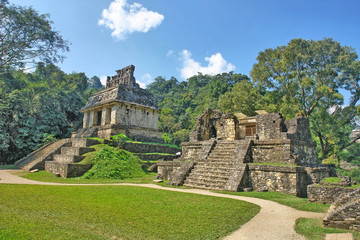 Temples of the Cross group in Palenque, Mexico - fototapety na wymiar