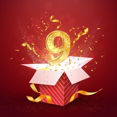 9 th year number anniversary and open gift box with explosions confetti isolated design element. Template nine ninth birthday celebration on red background vector Illustration.