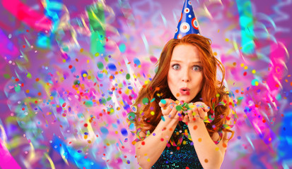 red hair party girl with confetti