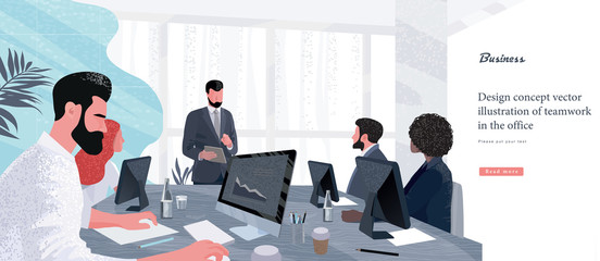 Vector illustration for business and finance. Successful team leader and business owner leading   business meeting. Businessman working on computer in foreground.