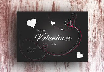 Valentine's Day Card Layout with White Accents