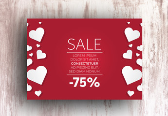 Sale Advertisement Layout with Hearts