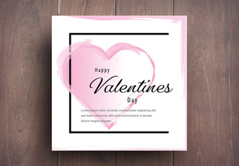 Valentine's Day Card Layout With Pink Accents