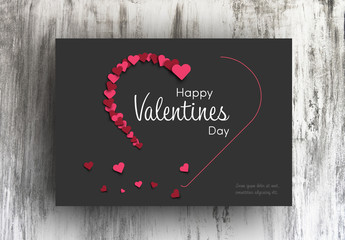 Valentine's Day Card Layout with Dark Background
