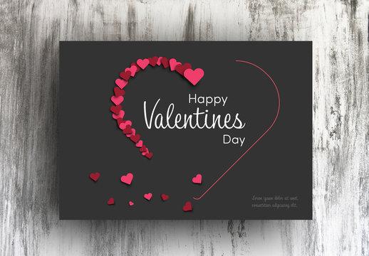 Valentine's Day Card Layout with Dark Background