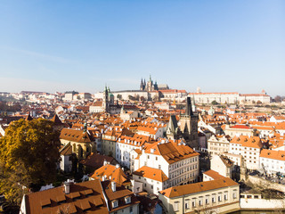 Aerial drone view Prague Castle and Saint Vitus Cathedral Panoramic view, Czech Republic. Vltava river