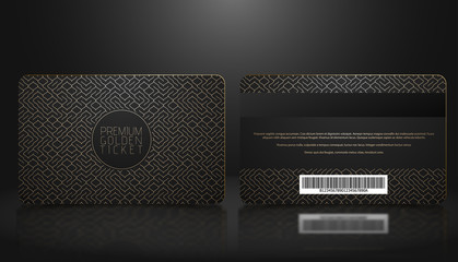 Vector template of membership or loyalty black VIP card with luxury golden geometric pattern. Front and back design presentation. Premium member, gift plastic card.
