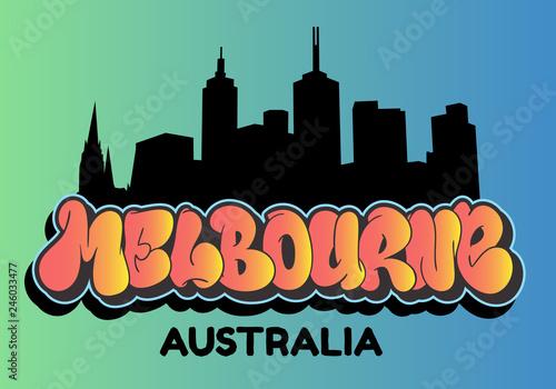 Melbourne Australia Cityscape City Skyline Silhouette Urban Card