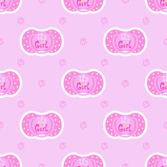 Seamless pattern baby child nipple on a pink background with hand drawn flowers. Vector cute children graphic textile print with text - it's a girl. Trendy ornament fabric design