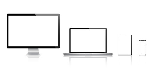 Realistic set of Monitor, laptop, tablet, smartphone - Stock Vector.