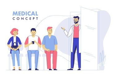 Medicine concept with doctor and patients on hospital hall background. Young doctor man and queue of people in hospital reception. Consultation and medical diagnosis. Vector illustration
