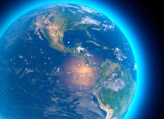 Mappa fisica del mondo, vista satellitare dell'America centrale. Globo. Emisfero. Rilievi e oceani. Rendering 3D. Elementi di questa immagine sono forniti dalla NASA