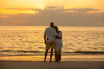 Senior Couple Sunset Tropical Beach