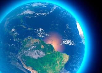 Vista satellitare dell'Amazzonia, cartina geografica, stati del Sud America, rilevi e pianure, cartina fisica. Disboscamento foresta