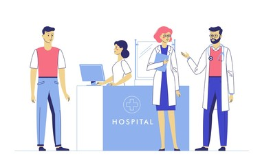 Medicine concept with doctors and patient on hospital hall background. Young doctors man and women in reception hospital. Consultation and medical diagnosis for illness people. Medical staff