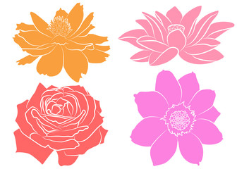 Flowers silhouette set