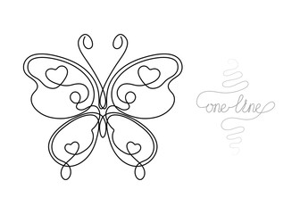 Continuous one line art drawing butterfly insect