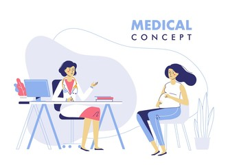 Medicine concept with doctor and pregnant woman. Practitioner doctor and young pregnant girl patient in hospital medical office. Consultation and diagnosis.