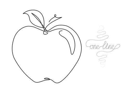 Continuous one line art drawing apple fruit