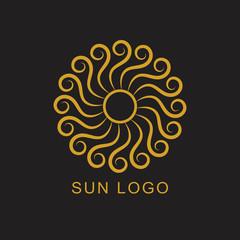 Sun mandala icon. Abstract logo and creative design element