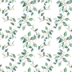 Watercolor eucalyptus branches seamless pattern. Hand painted floral repeating texture on white background.