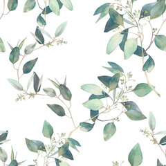 Watercolor eucalyptus branches ornament. Hand painted floral repeating wallpaper design
