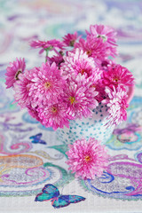Lovely bunch of flowers . Beautiful bouquet of a pink fresh chrysanthemum.