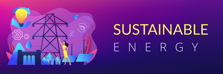 Scientist with sustainable development ideas solar panels, hydropower, wind. Sustainable energy, future-oriented energy, smart energy system concept. Header or footer banner template with copy space.