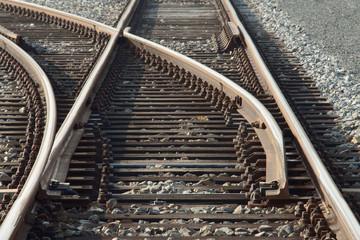 Weiche der Eisenbahn in Stellung geradeaus