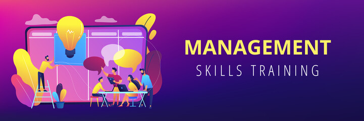 Managers at workshop training manager skills and brainstorming at board. Managers workshop, supervisors course, management skills training concept. Header or footer banner template with copy space.
