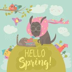 Funny dog and cute cat meeting spring