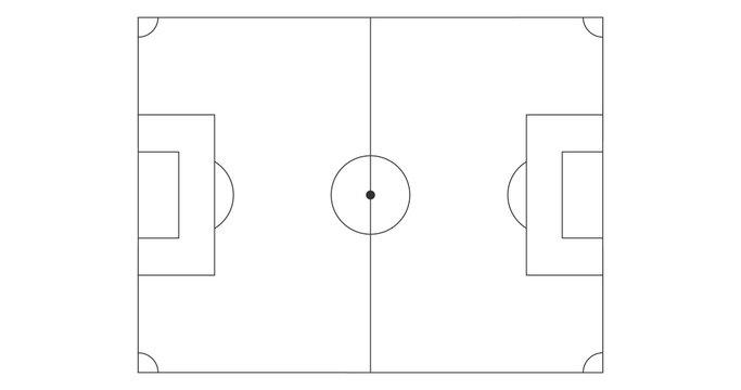 Black Line art soccer field icon. Sport vector illustration isolated on white background.