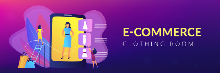 Shopper trying on clothes size and style in virual fitting room on tablet. Virtual fitting room, online dressing, e-commerce clothing room concept. Header or footer banner template with copy space.