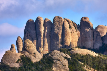 Mountains in Montserrat in Catalonia of Spain in a sunny day. Very interesting shape rocks.