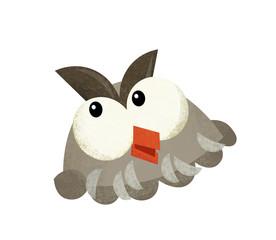 cartoon scene with owl animal head on white background - illustration for children